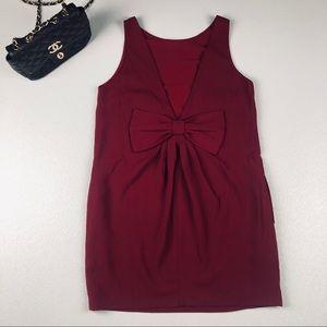 ASOS FRNCH burgundy bow back deep V shift dress